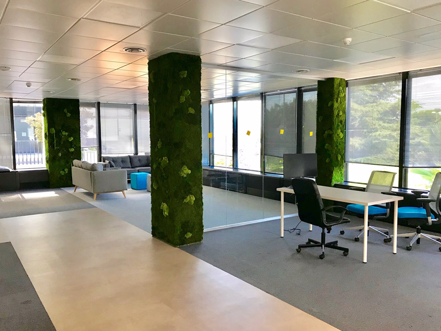 Jardines verticales en oficinas de Pozuelo